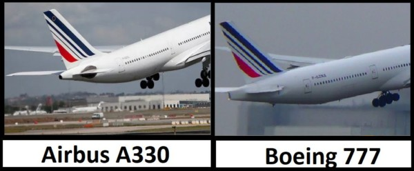 différence queue Airbus A330 vs Boeing 777