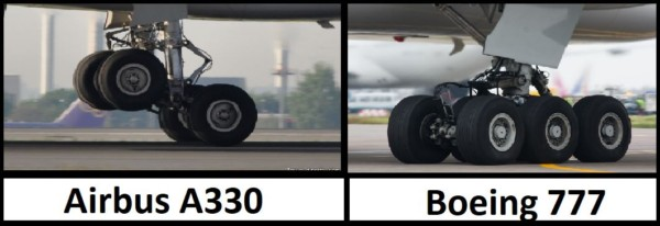 Train d'atterrissage Airbus A330 vs Boeing 777