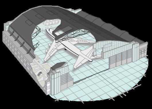 Hangar contenant un avion