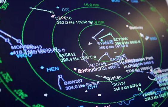 Radar d'un centre de contrôle aérien