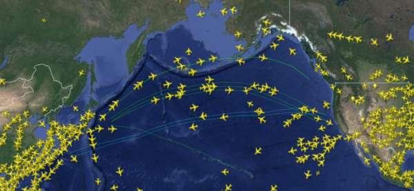 Avions sur les routes aériennes du pacifique