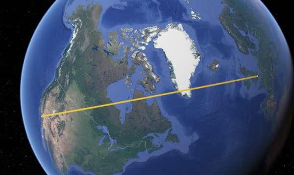 Route d'un vol Londres - Los Angeles sur le globe