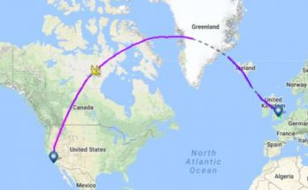 Trajectoire d'un avion par le pôle nord