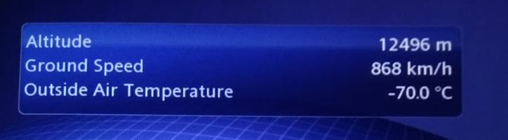 Affichage des températures dans un avion
