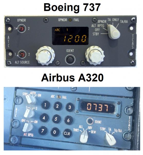 Transpondeur d'un Boeing 737 et Airbus A320