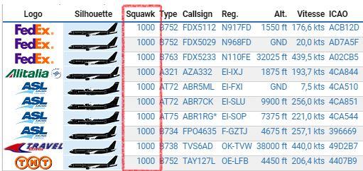 Liste d'avions en transpondeur 1000