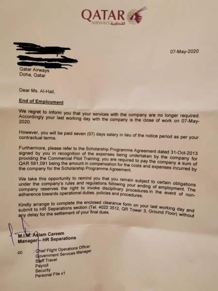 Lettre de licenciement
