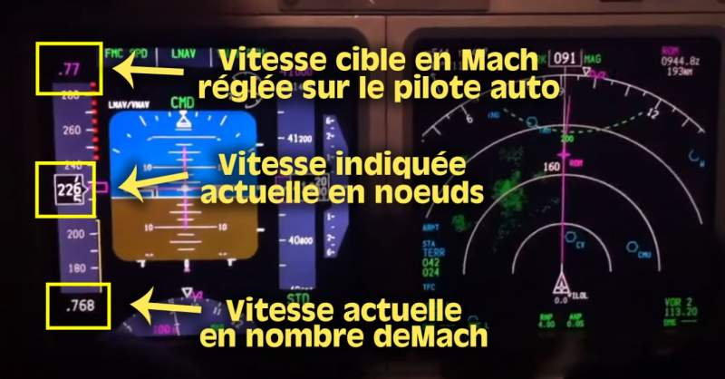 instruments d'un 737 en vol
